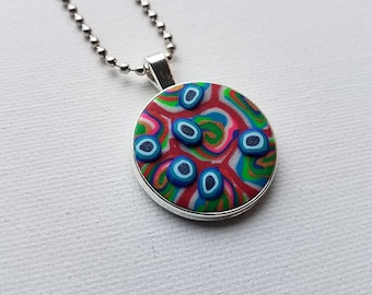 Deep Yellow and Red Handmade Polymer Clay Metal Pendant with Ball Chain