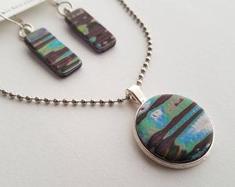 Mokume Gane Polymer Clay Earring Pendant Necklace Set - OOAK Boho Handmade Jewelry