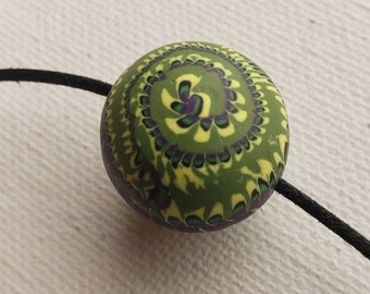 Stacker Swirl Round Polymer Clay Focal Bead for Jewelry Making