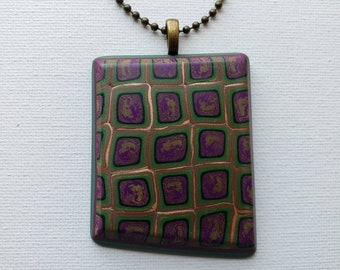 Extra Large Polymer Clay Pendant with Chain - Purple Green Gold Statement Necklace