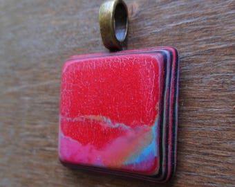 Smooth Red Polymer Clay Pendant Necklace