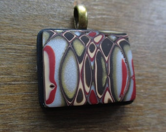 Over and Over Again Mokume Gane Polymer Clay Pendant Pendant