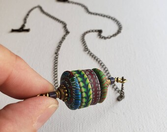 Stacker Bead Pendant Necklace - OOAK Boho Handmade Polymer Clay Bead Pendant with Chain