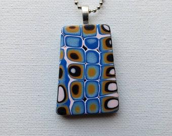 Bubbly Mokume Gane Polymer Clay Bail Pendant - OOAK Handmade Focal Pendant with Chain