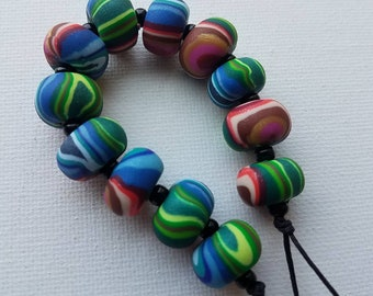 Small Batch Handmade Polymer Clay Round Bead Strand - Art Beads - Jewelry Beads