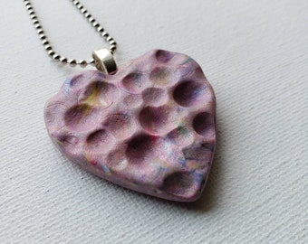 Dimpled Dusty Rose Polymer Clay Heart Pendant - Handmade OOAK Pendant