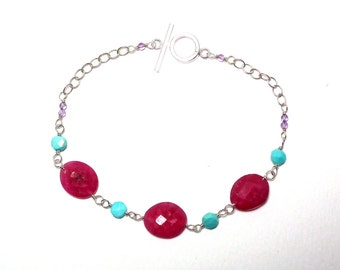 Grady - Ruby, turquoise, and amethyst bracelet