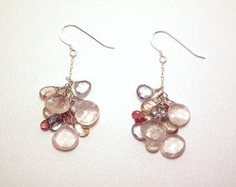 Maurella - Rose quartz, golden rutile quartz, grey topaz, and pink tourmaline earrings