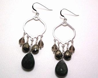Hedy - Aquamarine, pyrite, smoky quartz, and rose quartz earrings