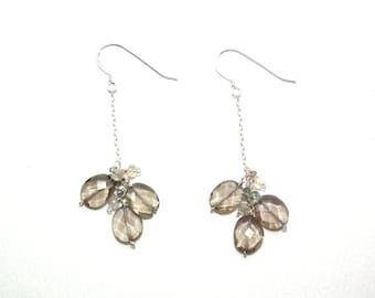 Parker - Smoky quartz, moonstone, and grey sapphire earrings