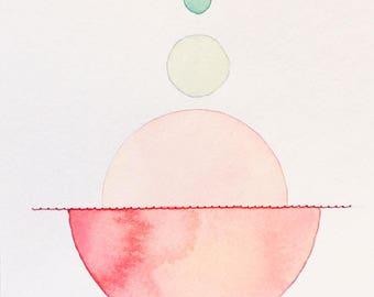 Original gemischte Medien Print - Aquarell, Acryl & Nähte