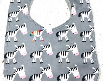 Zebra Baby Bib - infant bib  - dribble bib - flannel bib - baby shower gift - animal