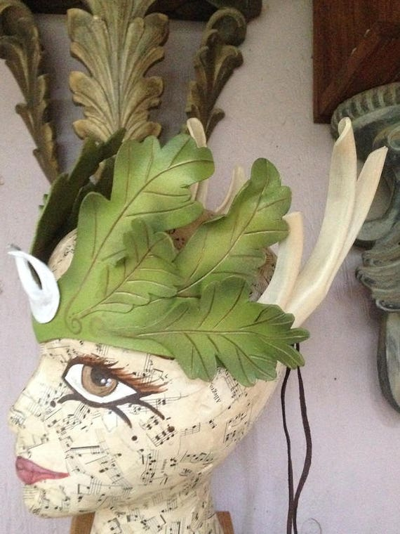 Oak Leaf Crown, Horns of the Moon, Beltane head adornment GREENMAN, Mother Nature Crown of Leaves by Faerywhere masks