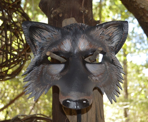 Wolf mask hand painted by Sherri Lynn Carroll Brown Timber Wolf Mask big bad wolf leather mask