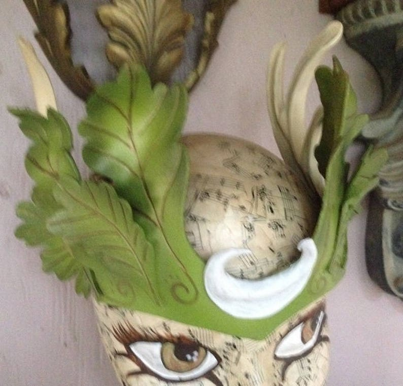 Antlers and crescent moon.. new forest fantasy leafy leather crown by Faerywhere Masks leaves