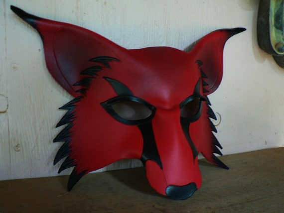 cosplay fox mask RED wolf kitsune leather mask