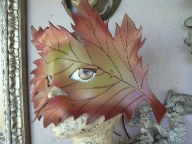 Greenman Autumn Samhain Celebration Autumn Leaf Mask leather mask