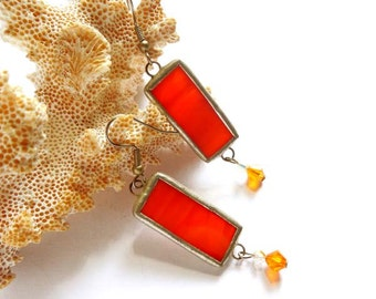 Orange Stained Glass Earrings With Swarovski Crystals