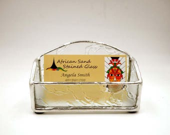 Clear Stained Glass Business Card Holder