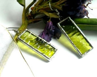 Textured Green Stained Glass Earrings