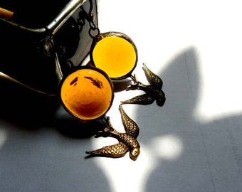 Amber Glass Jewel Earrings With Swooping Swallow