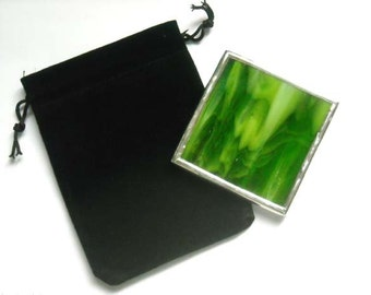 Green Streaky Stained Glass Pocket Mirror