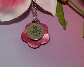 016d6eb8f88 Beautiful flower pink shell pendant sterling silver necklace layered with a  pink Swarovski crystal that features a word charm