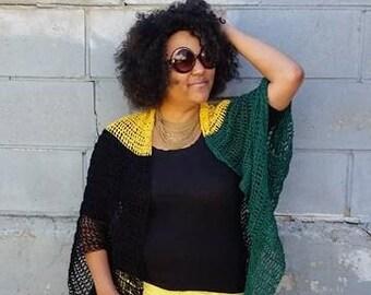 Jamaican Sweater, Caribbean Clothing, Oversized Kimono, Odunde Festival , Oversized Sweater, Large Shrug, Boho Sweater