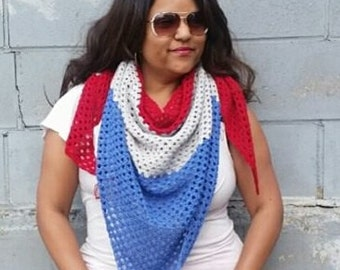 Triangle Scarf, Americana, Blanket Scarf July 4th Scarf, American Scarf, American Clothing, Stars and Stripes, Red White and Blue