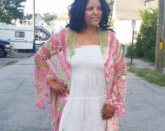 AKA Lace Shawl, Lace Kimono, AKA Pearls,  Pink and Green, Wedding Shawl,Bridal Shawl, Festival Kimono, Bridal Wrap, Crochet Lace, Shawl