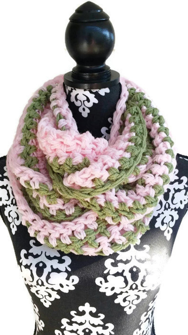 f09df145f34e2 Pink and Green Infinity Scarf Circle Scarf   Etsy