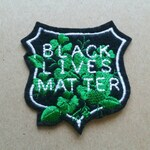 Black Lives Matter white, forest green and black badge iron on patch, protest patch,  embroidered patch, patches for jackets