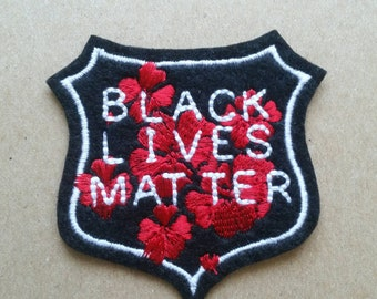 Black Lives Matter white, red and black badge iron on patch, protest patch,  embroidered patch, patches for jackets