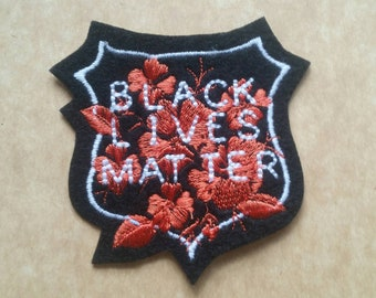 Black Lives Matter white, orange and black badge iron on patch, protest patch,  embroidered patch, patches for jackets