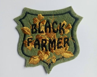 Black Farmer felt embroidered iron on sew on patch applique in moss green and gold