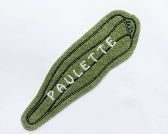 Custom name okra felt sew on iron on embroidered patch applique