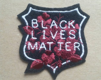Black Lives Matter white, burgundy and black badge iron on patch, protest patch,  embroidered patch, patches for jackets