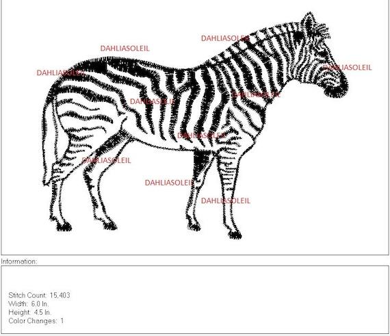 Zebra Maschine DST Stickdatei Stickmuster Applikationen | Etsy