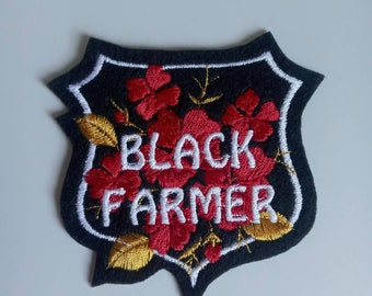 Black Farmer embroidered patch applique iron on or sew on