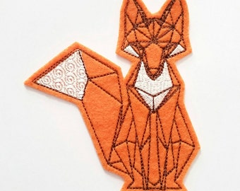 Origami geometric orange fox sew on iron on felt machine embroidered patch applique in orange felt with brown and white embroidery thread