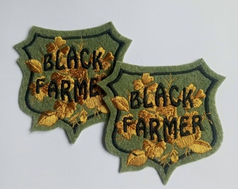 Set of 2 Black Farmer felt embroidered iron on sew on patch appliques in moss green and gold