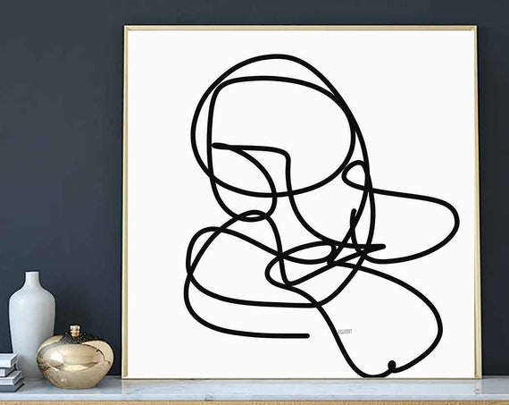 Printable Art, Line Art, One Line Digital Drawing, Black White Art, Instant Download, Modern Print, 30x30 Print Abstract Art, RegiaArt