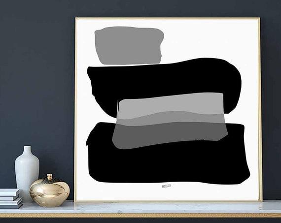 Printable Abstract Art, Black White Wall Art, Instant Download, Modern Print, Digital Painting, 30x30 Art Print, Bold Abstract Art, RegiaArt