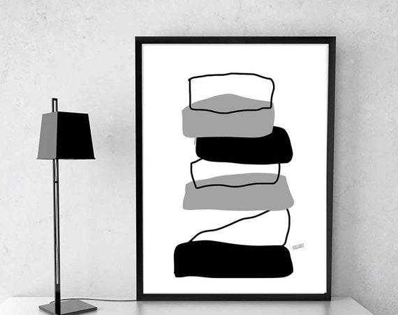 Printable Abstract, Minimalist, Home Wall Art Mid Century, Scandinavian Modern, Scandinavian Minimal Art, Monochrome Print, Instant Download