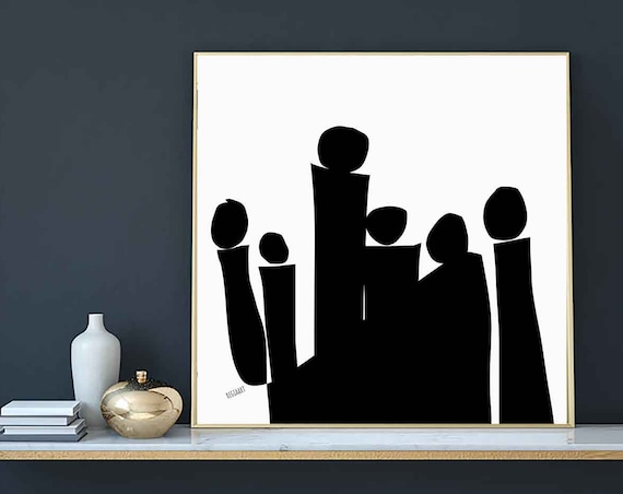 Printable Art, Square BW Figures, Color Blocks. Large Art Instant Download, Modern Print, Digital Painting, Art Print Abstract Art, RegiaArt
