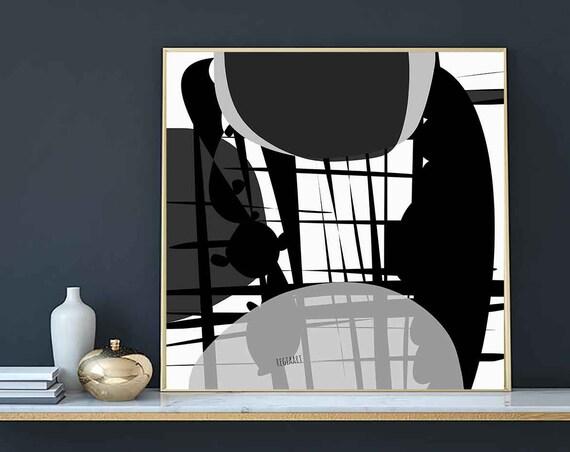 Printable Art, Square, Black White Abstraction Large Art, Instant Download, Modern Print, Digital Painting, Art Print Abstract Art, RegiaArt