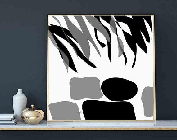 "Printable Wall Art, Square Black Gray, Large Art Instant Download, Modern Print, Digital Painting, Art Print Abstract Art, 30""x 30"" RegiaArt"