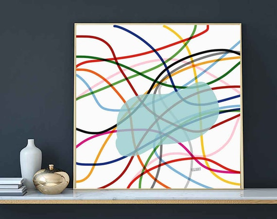 Colored Lines Draw II Printable Art, Abstract Large Art, Instant Download, Modern Print, Digital Painting, 30x30 Art Print Abstract RegiaArt