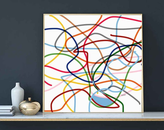Colored Lines Drawing Printable Art, Abstract Large Art, Instant Download, Modern Print, Digital Painting, 30x30 Art Print Abstract RegiaArt
