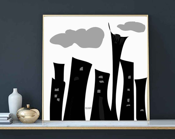 Printable Art Abstract, Square Black White City, Large Art, Instant Download, Digital Painting, Modern Home Style, RegiaArt